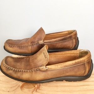 Ecco Driving Shoes Brown Leather Men's Sz 8-8.5 42